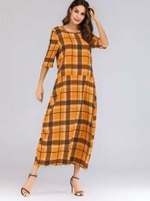 Plaid Print Detail Longline Dress
