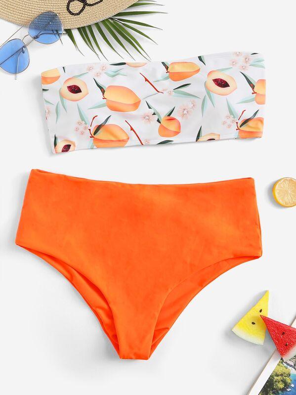 a7d7be8baf Plus Peach Print Bandeau With High Waist Bikini   SHEIN