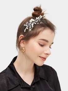 Faux Pearl & Rhinestone Decor Hair Comb