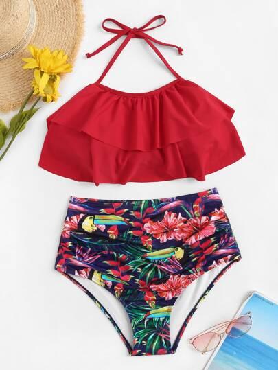 184775935321 Ruffle Top With Random Tropical Ruched Bikini