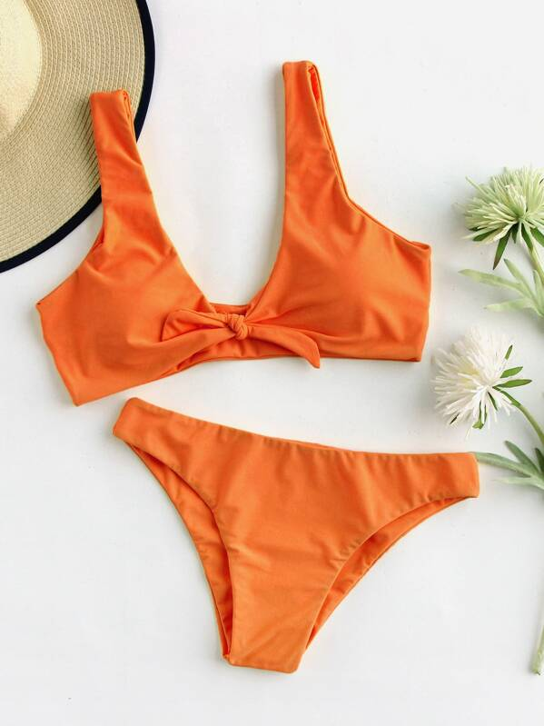 77314ce014 Knot Front Plunging Top With Panty Bikini Set | SHEIN