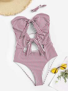 Striped Cut-out Bandeau One Piece Swimwear