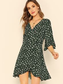 Bell Sleeve Ditsy Floral Wrap Tea Dress