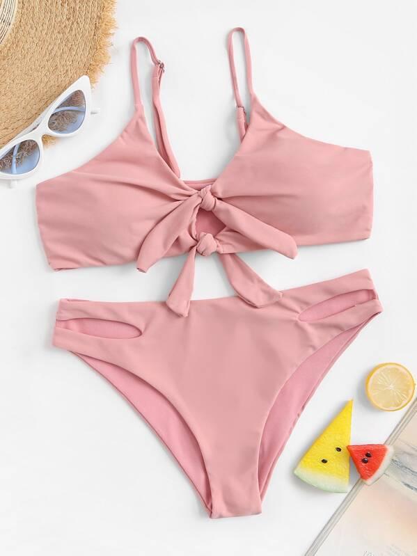 0faa859cc9 Knot Front Top With Cut-out Bikini Set | SHEIN