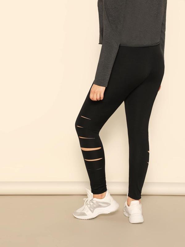 7ffec2e787888 Plus Solid Cut Out Leggings | SHEIN IN