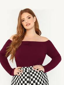 Plus Off Shoulder Rib-knit Ruched Detail Tee