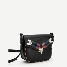 Metal Detail Criss Cross Crossbody Bag