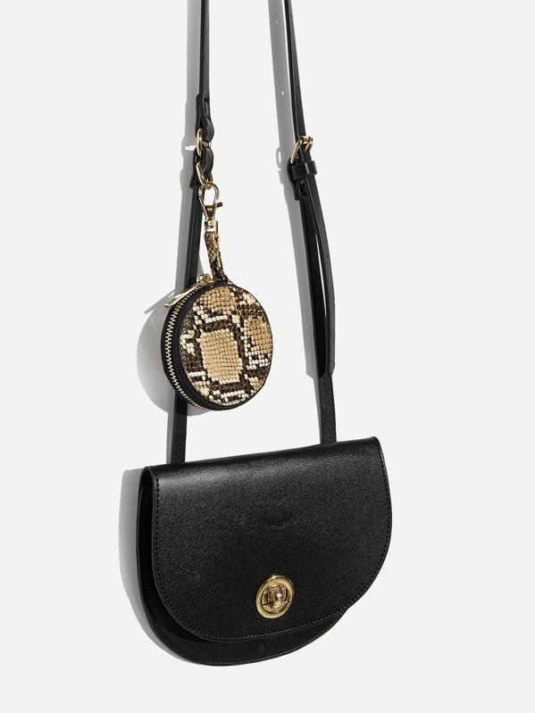 41f15b4c325e1 Flap Crossbody Bag With Snakeskin Print Purse | SHEIN IN