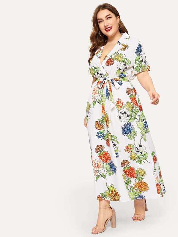 78c9e7a0fbedc1 Wit Vakantie Bloemen Grote maten jurken Wrap