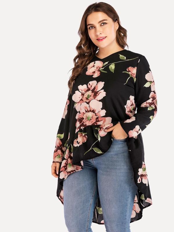 precios increibles mejor servicio compra especial Blusa asimétrica con estampado floral de talla grande
