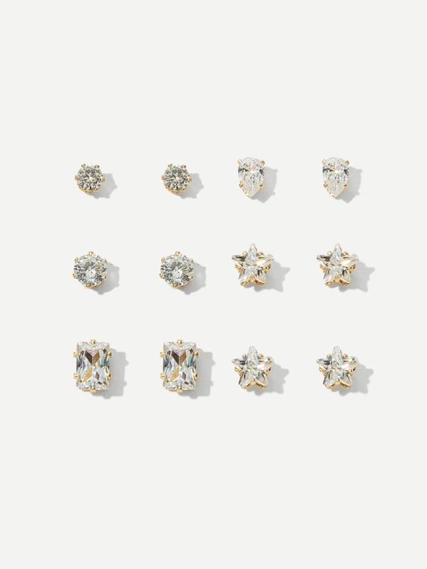6c10ff5e8 Rhinestone Stud Earrings 6pairs | SHEIN UK