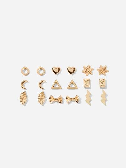 e14afa0a102 Heart   Snowflake Stud Earrings 9pairs