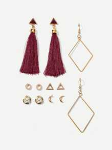 Moon & Triangle Tassel Drop Earrings 6pairs
