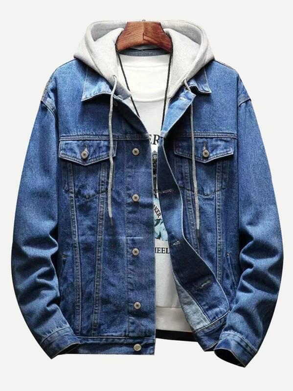 c72822f69d Men Contrast Hooded Denim Jacket