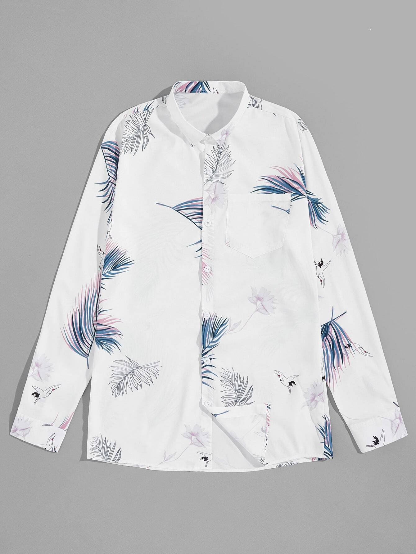 Men Leaf Print Shirt Men Leaf Print Shirt