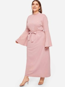 Plus Self Tie Pearls Flounce Sleeve Dress