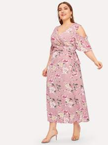 Plus Cut Out Knot Floral Print Dress