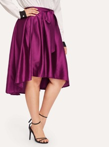 Plus Knot Dip Hem Skirt