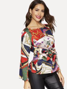 Chain & Floral Print Knot-front Blouse