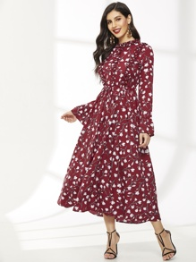 Floral Print Flounce Sleeve Ruched Dress