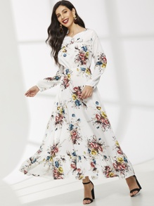 Floral Print Bishop Sleeve Ruffle Hem Dress