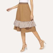 Contrast Gingham Print Tiered Layer Elastic Waist Skirt
