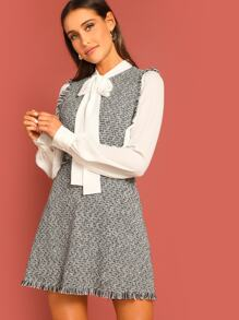 Pussybow Frayed Trim Tweed Combo Dress