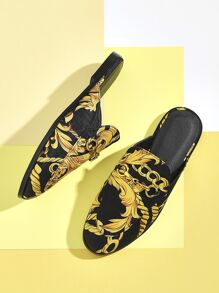 Scarf Print Buckle Decor Flat Mules