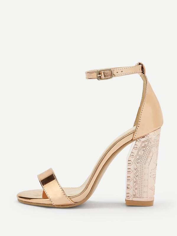c21a40efeb7d7 Metallic Design Ankle Strap Heels