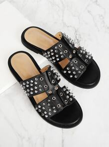 Rivet Decor PU Sandals