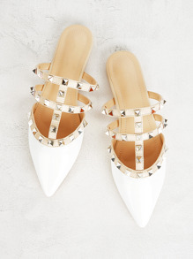 Rivet Decor Point Toe Flat Mules