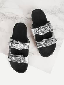 Buckle Decor Snakeskin Print Sandals