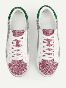 Sequin Decor Lace-up Trainers