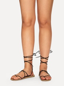 Criss Cross Tie Leg Sandals