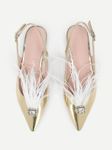 Rhinestone Decor Feather Slingback Flats