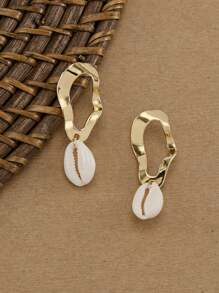 Hammered Oval With Puka Shell Accent Earrings