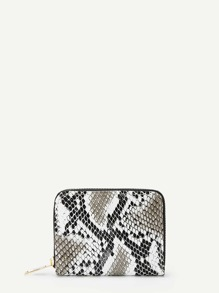 Snakeskin Pattern Zipper Around Purse