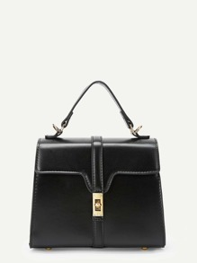 Twist Lock Detail Satchel Bag