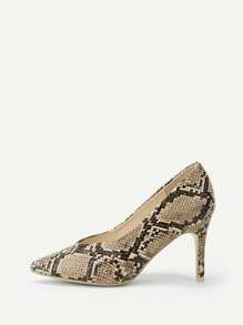 Snakeskin Pattern Point Toe Heels