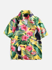 Men Floral Print Single-breasted Shirt