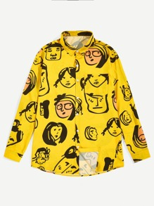 Men Cartoon Print Pocket Front Shirt
