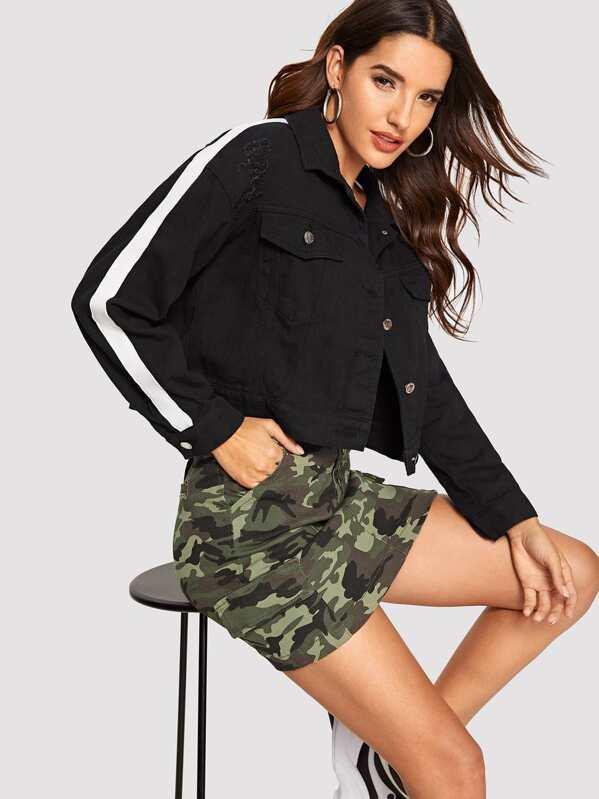 dfef3ea568a79 Cheap Tuxedo Stripe Crop Denim Jacket for sale Australia | SHEIN