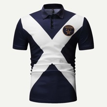 Guys Contrast Panel Letter Print Polo Shirt
