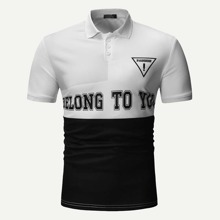 Men Cut And Sew Panel Letter Print Polo Shirt