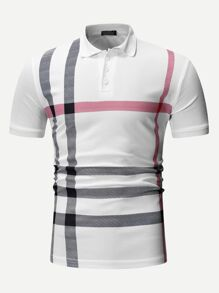 Men Plaid Print Polo Shirt