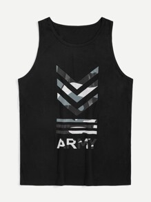 Men Letter Print Striped Tank Top