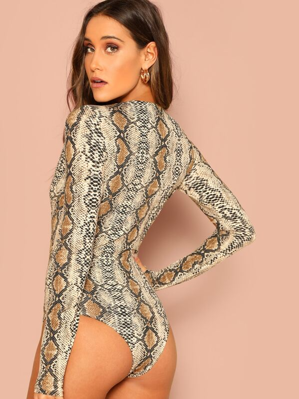 9758a4823f Plunging Neck Snakeskin Fitted Bodysuit | SHEIN
