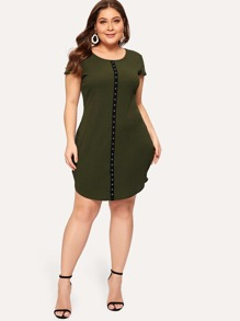 Plus Contrast Eyelet Tape Ribbed Dress