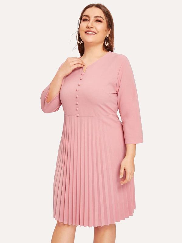 Plus Zip Back Pleated Dress | SHEIN