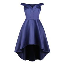 50s Off Shoulder High Low Dress